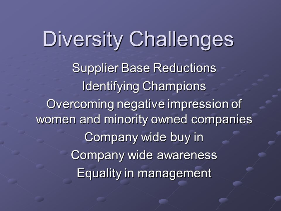 Diversity Challenges Supplier Base Reductions Identifying Champions Overcoming negative impression of women and minority owned companies Company wide buy in Company wide awareness Equality in management