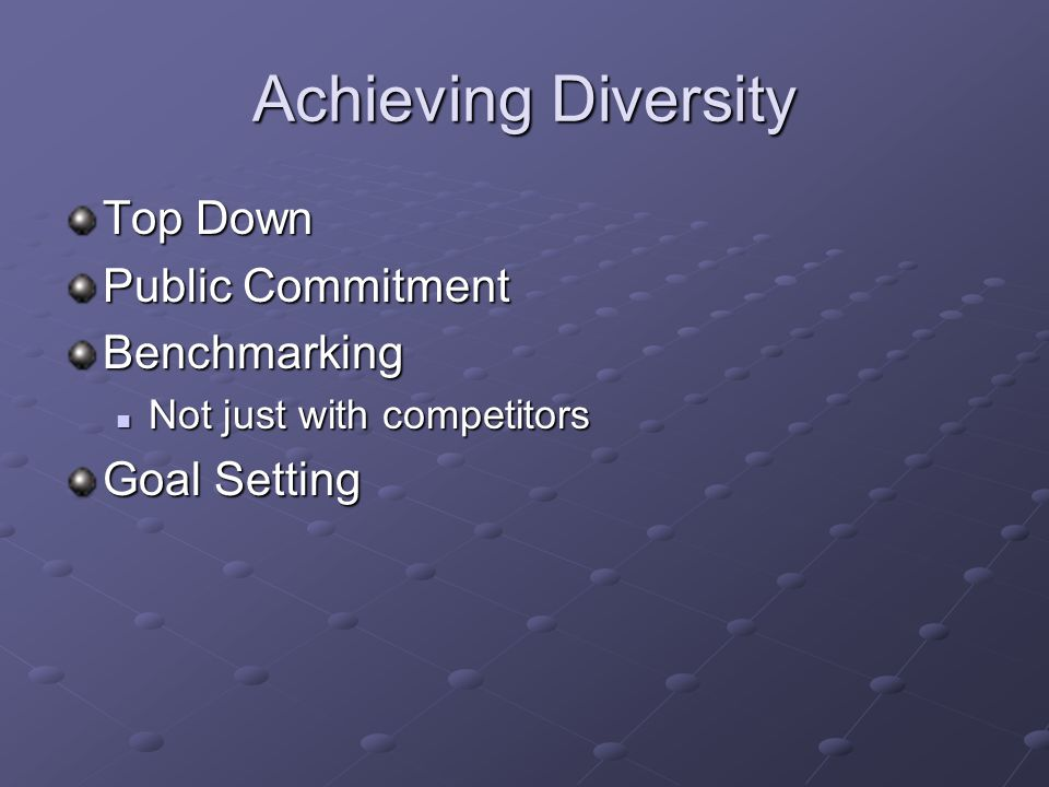 Achieving Diversity Top Down Public Commitment Benchmarking Not just with competitors Not just with competitors Goal Setting