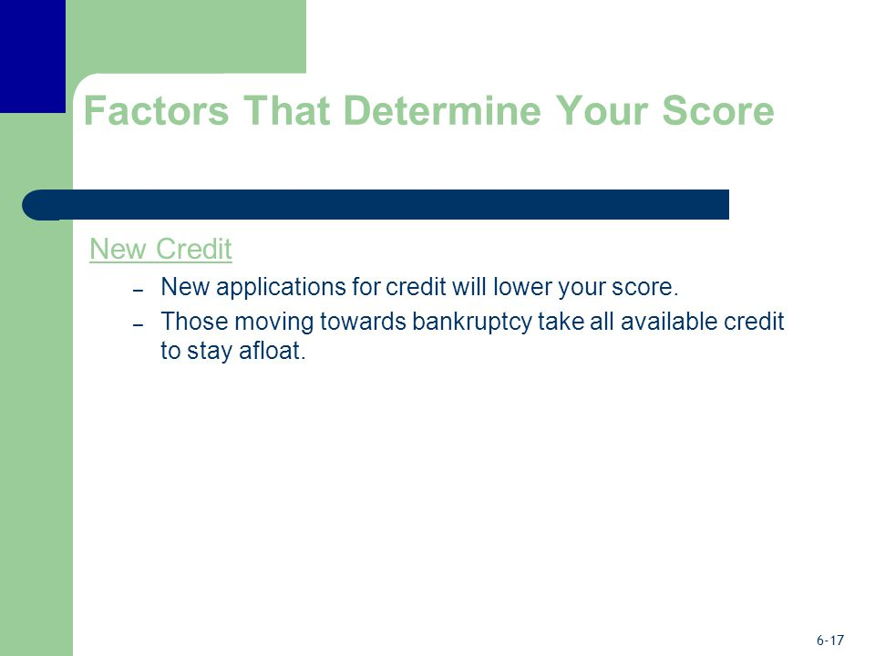 6-17 Factors That Determine Your Score New Credit – New applications for credit will lower your score.