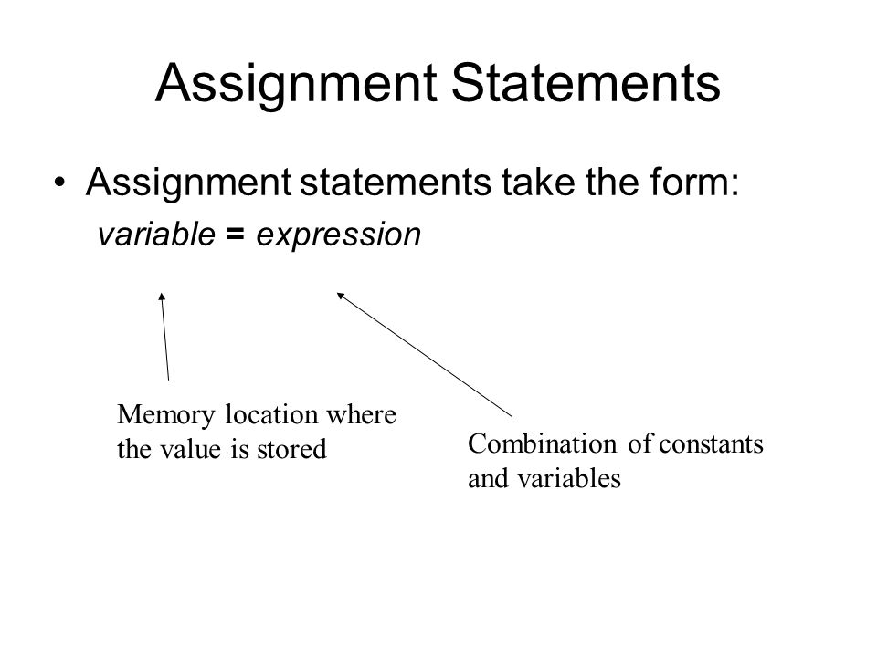 Assignment Statements Assignment statements take the form: variable = expression Memory location where the value is stored Combination of constants and variables