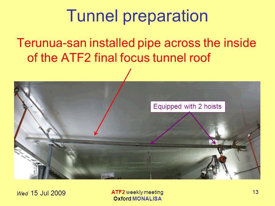 Wed 15 Jul 2009 ATF2 weekly meeting Oxford MONALISA 13 Tunnel preparation Terunua-san installed pipe across the inside of the ATF2 final focus tunnel roof Equipped with 2 hoists