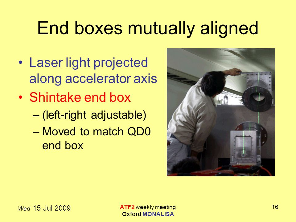 Wed 15 Jul 2009 ATF2 weekly meeting Oxford MONALISA 16 End boxes mutually aligned Laser light projected along accelerator axis Shintake end box –(left-right adjustable) –Moved to match QD0 end box