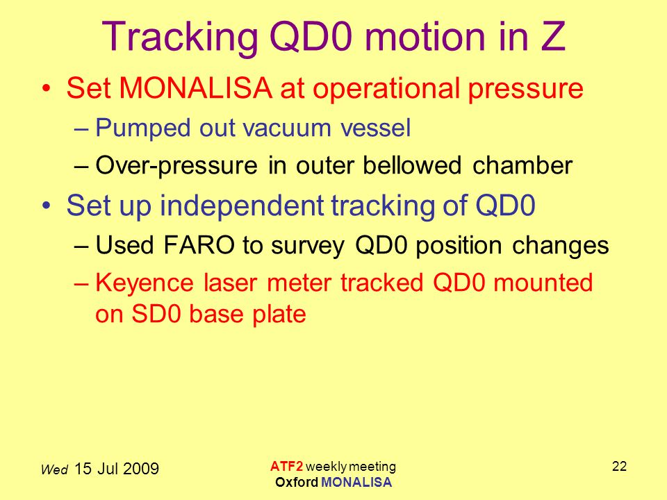 Wed 15 Jul 2009 ATF2 weekly meeting Oxford MONALISA 22 Tracking QD0 motion in Z Set MONALISA at operational pressure –Pumped out vacuum vessel –Over-pressure in outer bellowed chamber Set up independent tracking of QD0 –Used FARO to survey QD0 position changes –Keyence laser meter tracked QD0 mounted on SD0 base plate