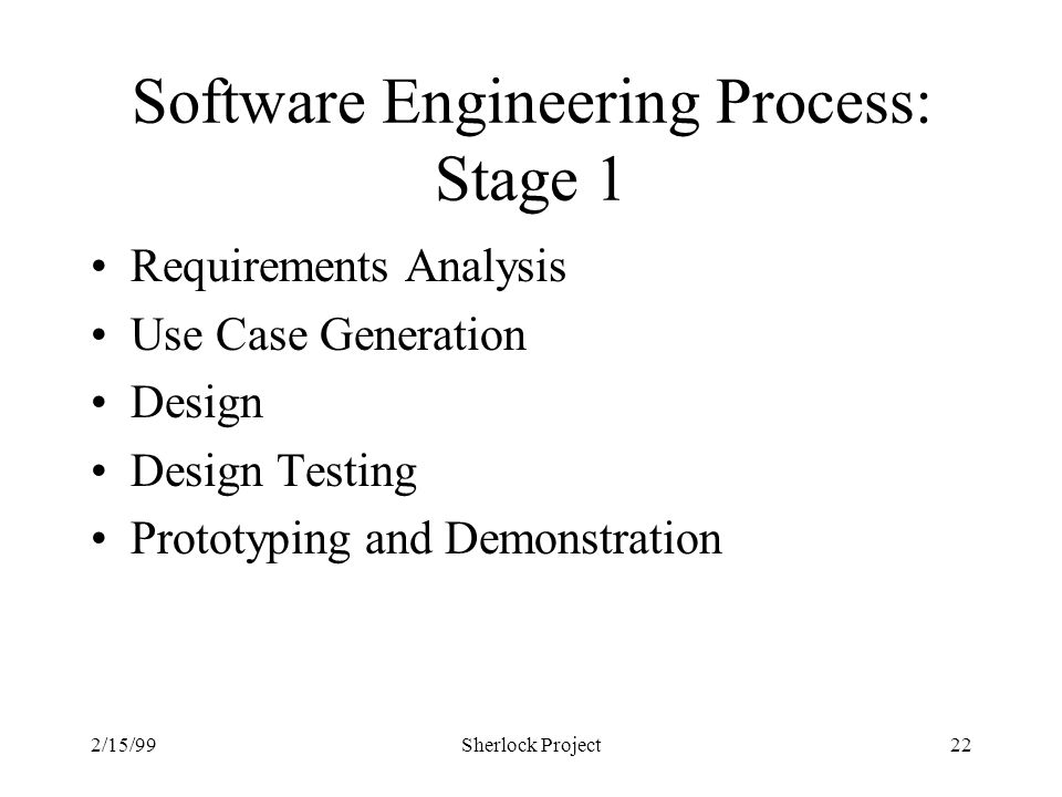 2/15/99Sherlock Project22 Software Engineering Process: Stage 1 Requirements Analysis Use Case Generation Design Design Testing Prototyping and Demonstration