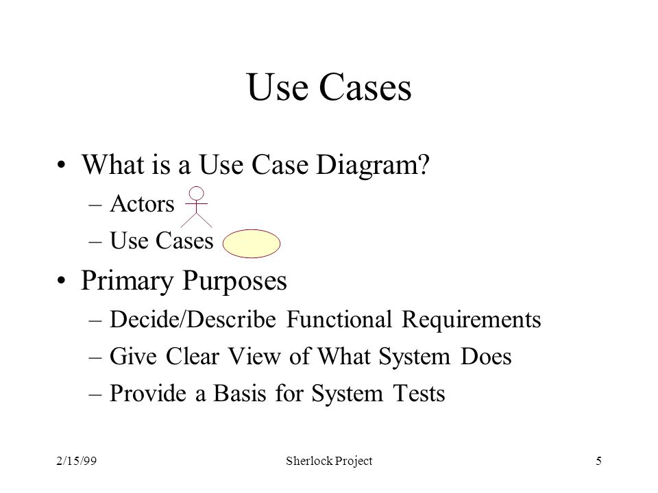 2/15/99Sherlock Project5 Use Cases What is a Use Case Diagram.