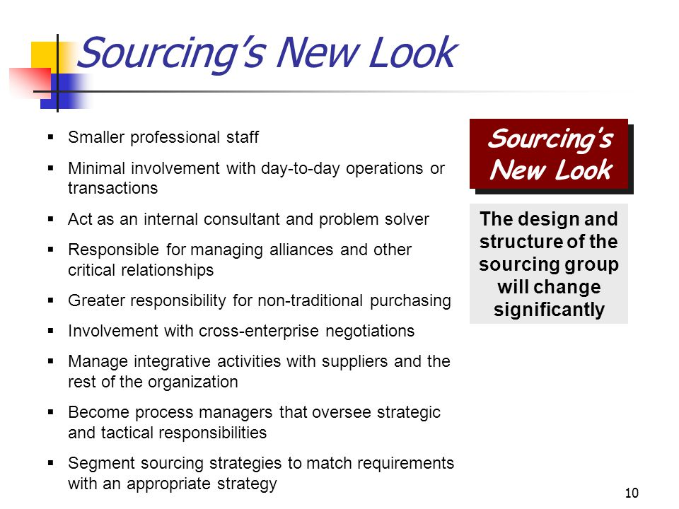 10 Sourcing's New Look The design and structure of the sourcing group will change significantly Sourcing's New Look  Smaller professional staff  Minimal involvement with day-to-day operations or transactions  Act as an internal consultant and problem solver  Responsible for managing alliances and other critical relationships  Greater responsibility for non-traditional purchasing  Involvement with cross-enterprise negotiations  Manage integrative activities with suppliers and the rest of the organization  Become process managers that oversee strategic and tactical responsibilities  Segment sourcing strategies to match requirements with an appropriate strategy