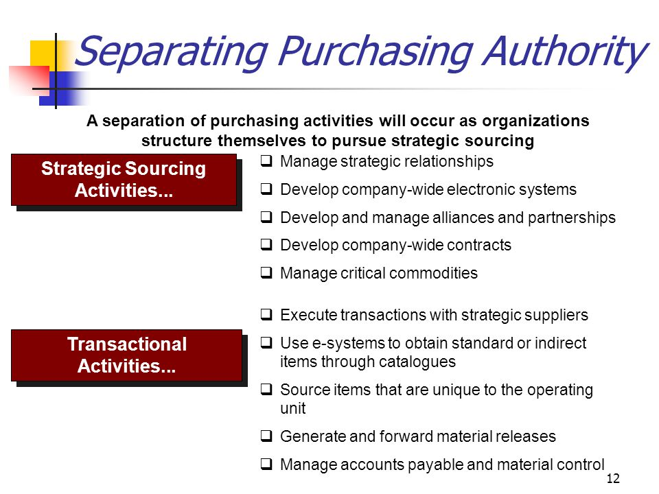 12 Separating Purchasing Authority A separation of purchasing activities will occur as organizations structure themselves to pursue strategic sourcing Strategic Sourcing Activities...