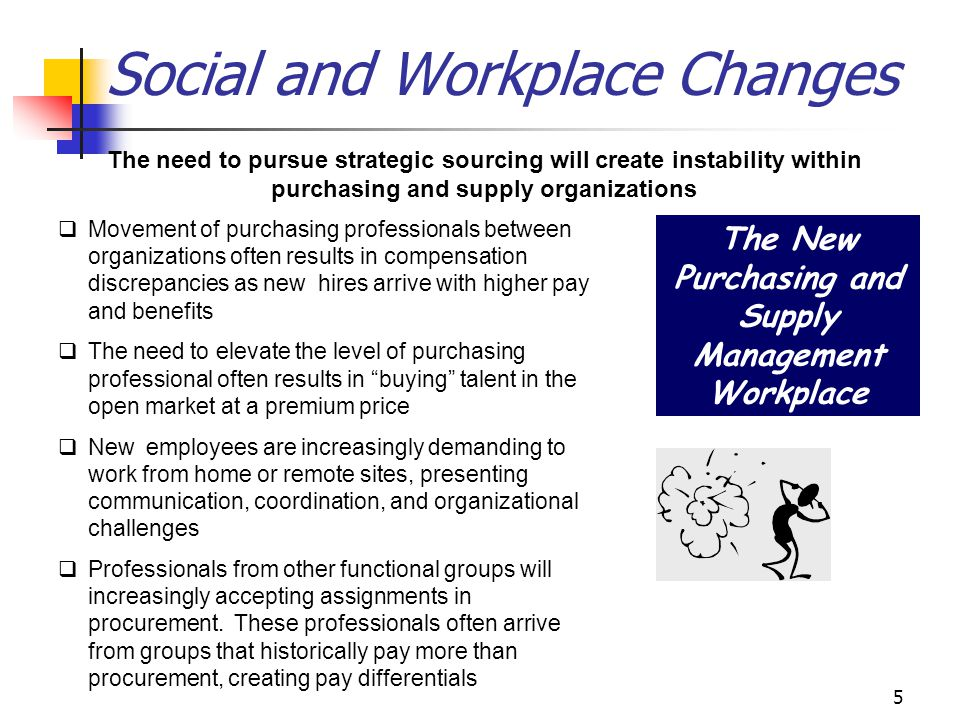 5 Social and Workplace Changes The need to pursue strategic sourcing will create instability within purchasing and supply organizations The New Purchasing and Supply Management Workplace q Movement of purchasing professionals between organizations often results in compensation discrepancies as new hires arrive with higher pay and benefits q The need to elevate the level of purchasing professional often results in buying talent in the open market at a premium price q New employees are increasingly demanding to work from home or remote sites, presenting communication, coordination, and organizational challenges q Professionals from other functional groups will increasingly accepting assignments in procurement.