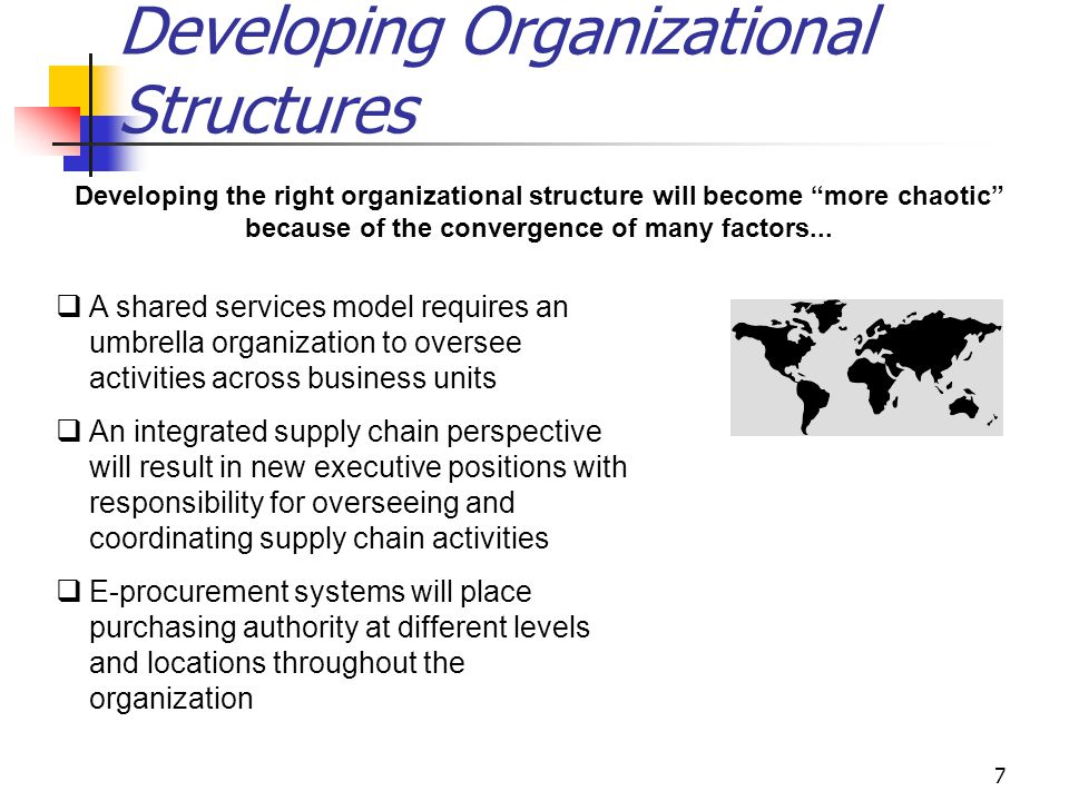 7 Developing Organizational Structures Developing the right organizational structure will become more chaotic because of the convergence of many factors...