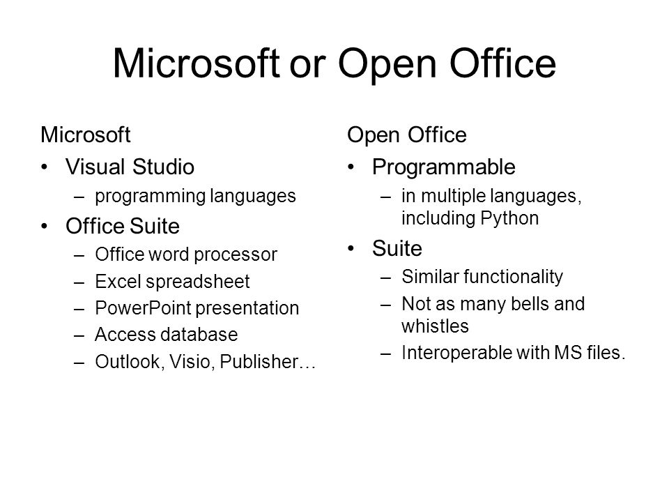 Office Automation Week 9 Lab Lecture CS 101  Microsoft or Open