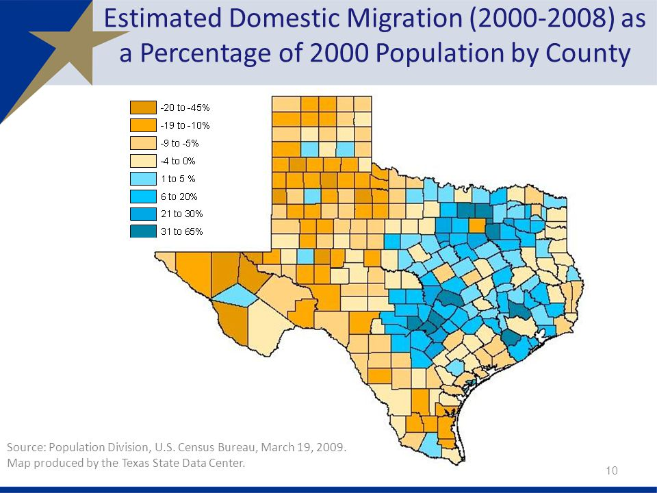 Estimated Domestic Migration ( ) as a Percentage of 2000 Population by County Source: Population Division, U.S.