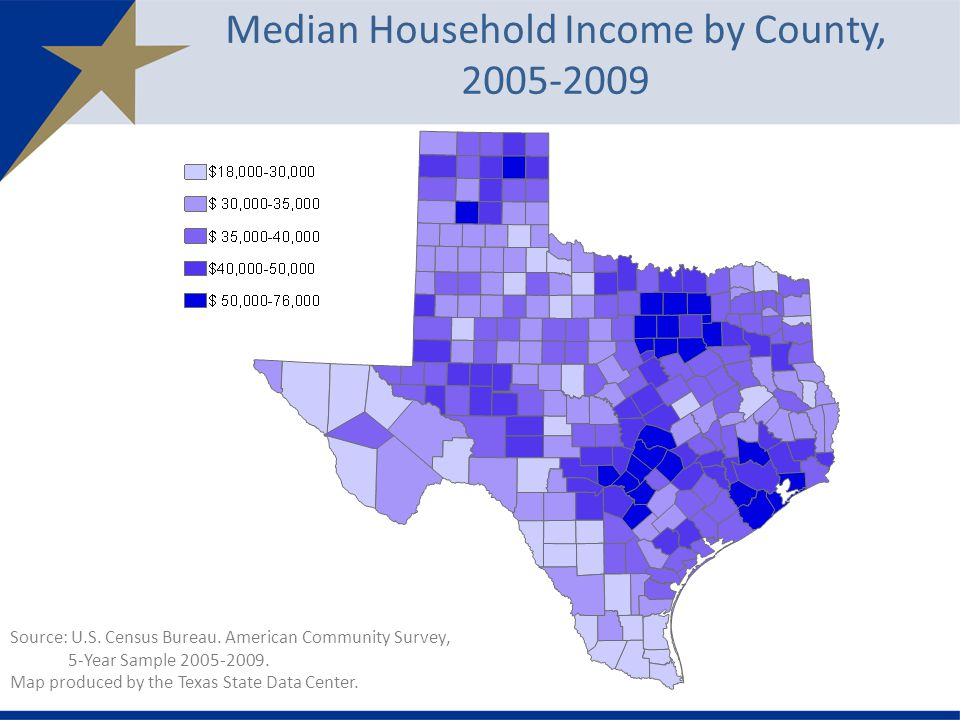 Median Household Income by County, Source: U.S.