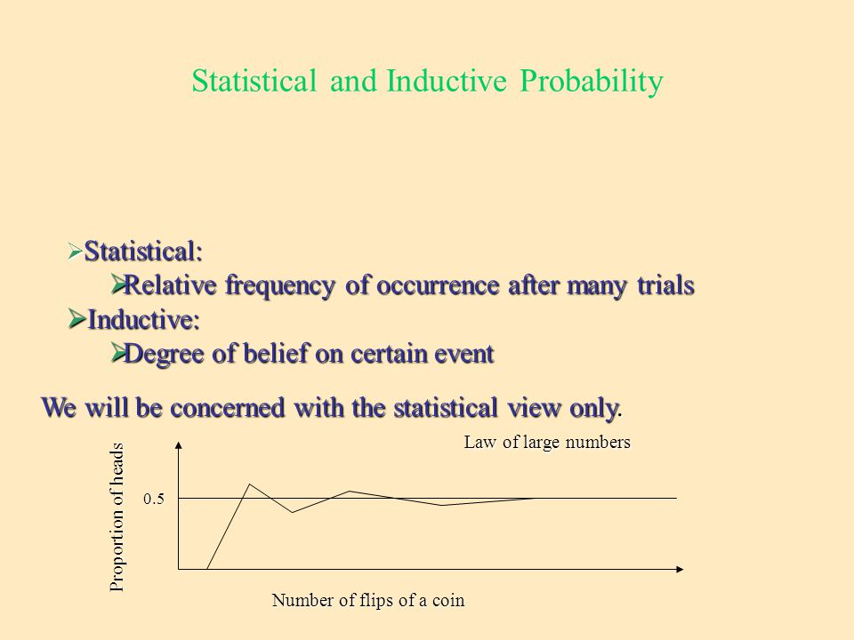 Statistical and Inductive Probability  Statistical:  Relative frequency of occurrence after many trials  Inductive:  Degree of belief on certain event We will be concerned with the statistical view only.