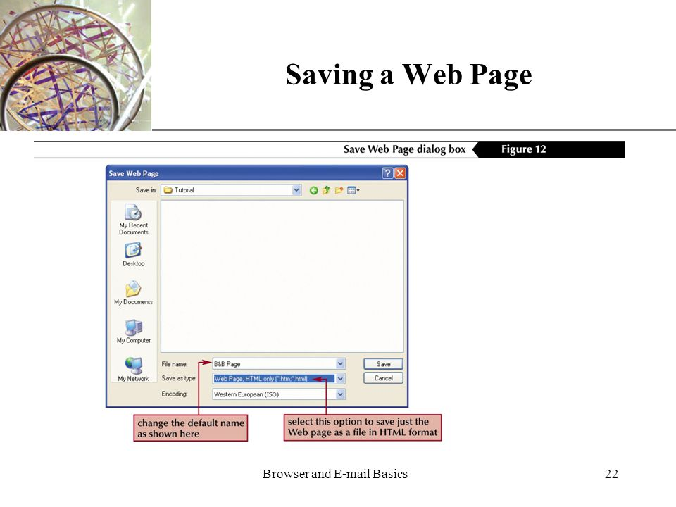 XP Browser and  Basics22 Saving a Web Page