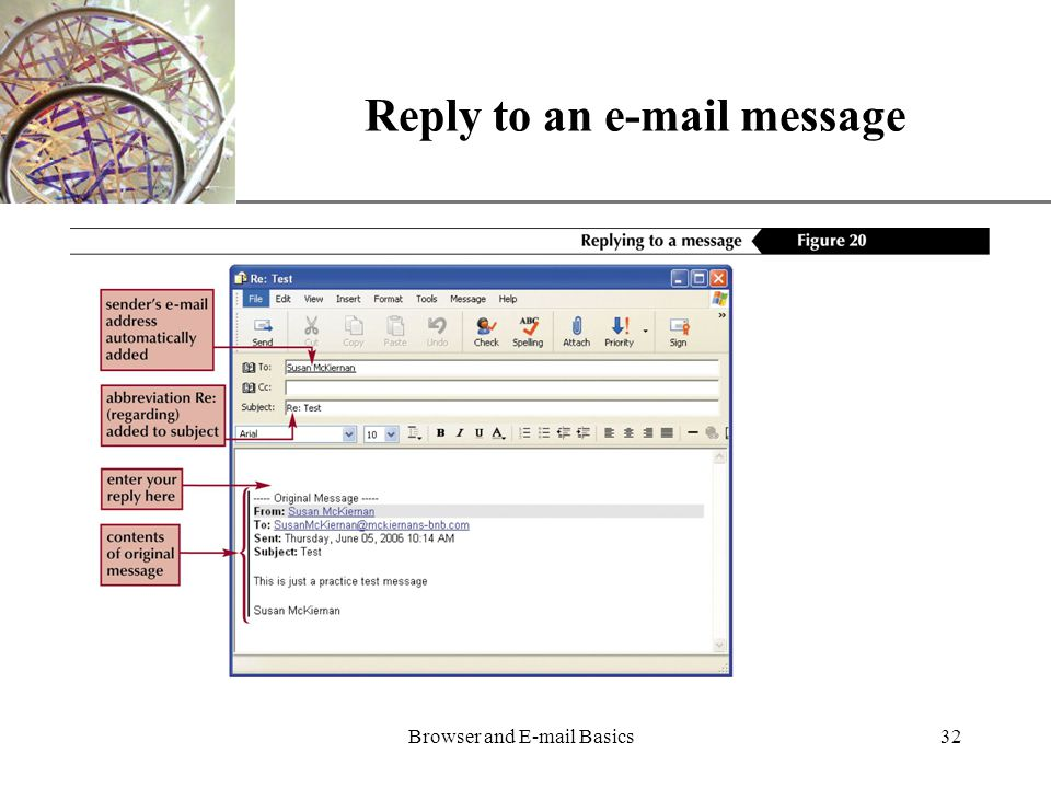 XP Browser and  Basics32 Reply to an  message