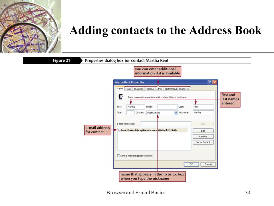XP Browser and  Basics34 Adding contacts to the Address Book