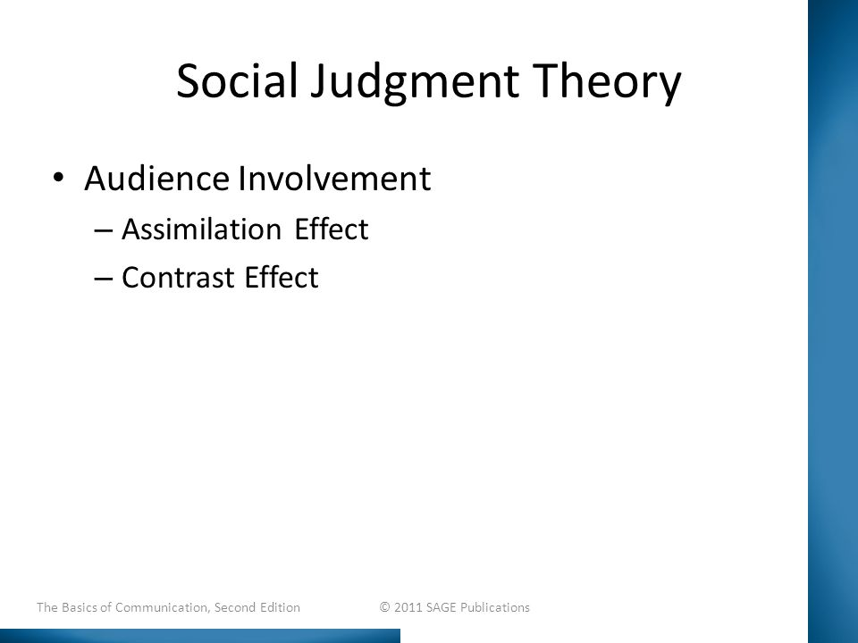 Social Judgment Theory Audience Involvement – Assimilation Effect – Contrast Effect The Basics of Communication, Second Edition © 2011 SAGE Publications