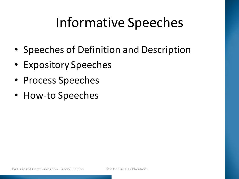 Informative Speeches Speeches of Definition and Description Expository Speeches Process Speeches How-to Speeches The Basics of Communication, Second Edition © 2011 SAGE Publications