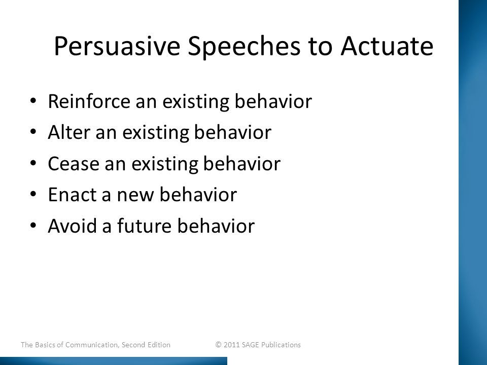 Persuasive Speeches to Actuate Reinforce an existing behavior Alter an existing behavior Cease an existing behavior Enact a new behavior Avoid a future behavior The Basics of Communication, Second Edition © 2011 SAGE Publications