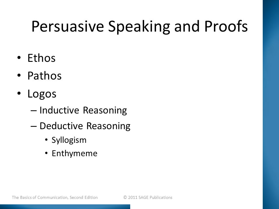 Persuasive Speaking and Proofs Ethos Pathos Logos – Inductive Reasoning – Deductive Reasoning Syllogism Enthymeme The Basics of Communication, Second Edition © 2011 SAGE Publications