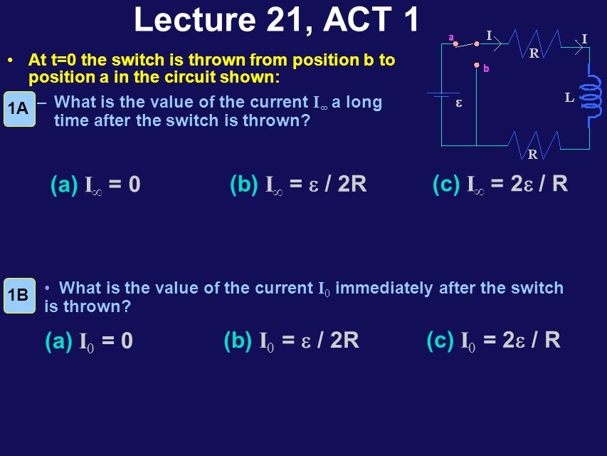 RL Circuits At t=0, the switch is closed and the current I starts to flow.