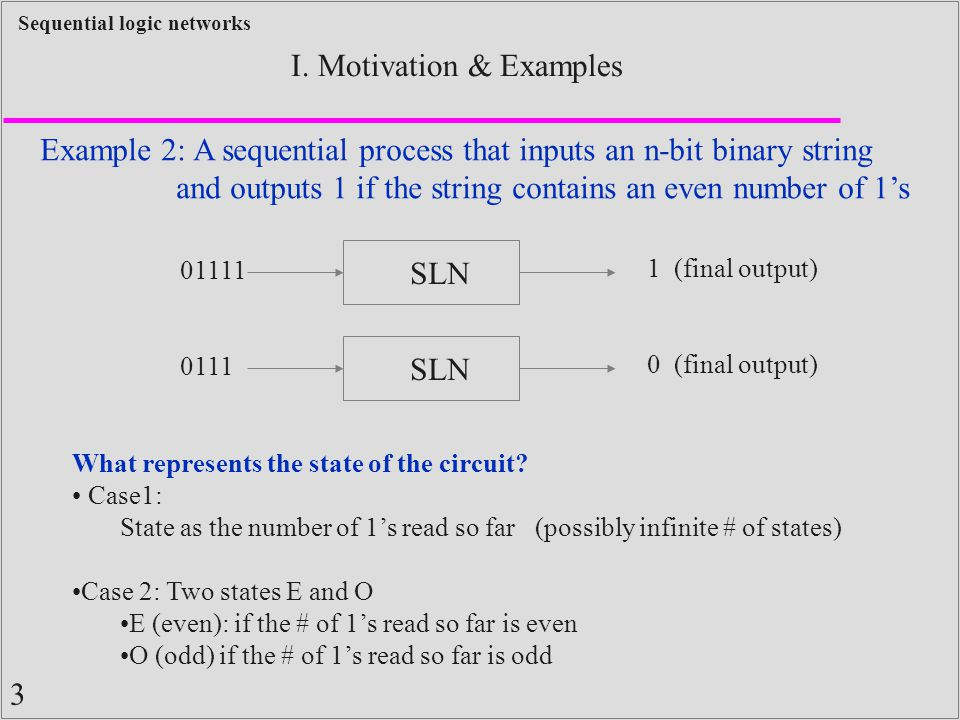 1 Sequential logic networks I  Motivation & Examples