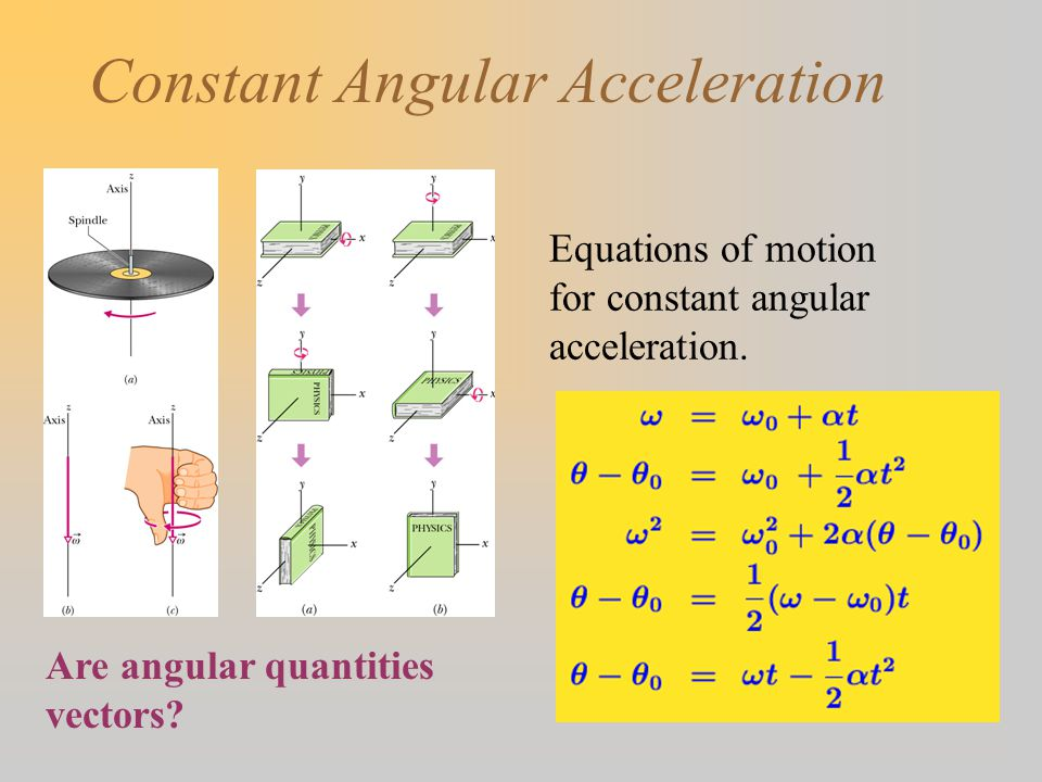 Constant Angular Acceleration Are angular quantities vectors.