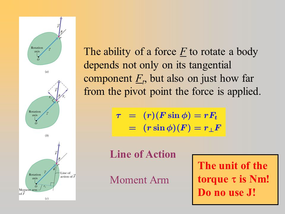 Torque Line of Action Moment Arm The ability of a force F to rotate a body depends not only on its tangential component F t, but also on just how far from the pivot point the force is applied.
