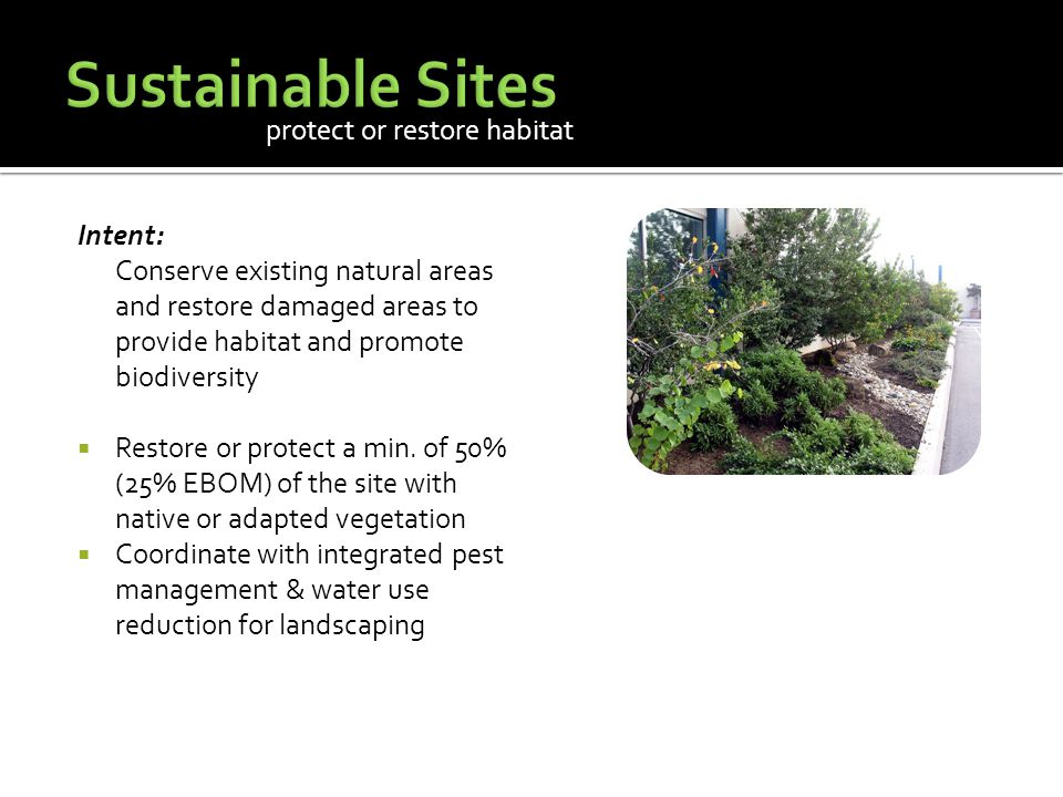 Intent: Conserve existing natural areas and restore damaged areas to provide habitat and promote biodiversity  Restore or protect a min.