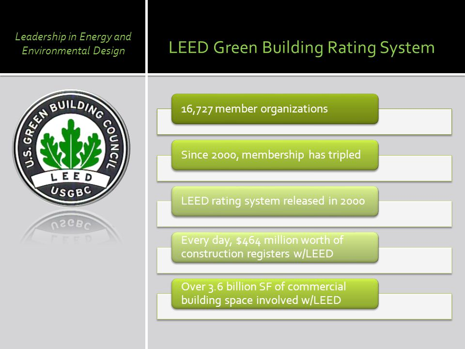 16,727 member organizationsSince 2000, membership has tripledLEED rating system released in 2000 Every day, $464 million worth of construction registers w/LEED Over 3.6 billion SF of commercial building space involved w/LEED LEED Green Building Rating System Leadership in Energy and Environmental Design