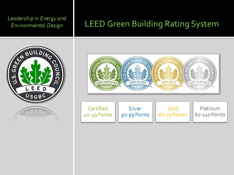 LEED Green Building Rating System Certified Points Silver Points Gold Points Platinum Points Leadership in Energy and Environmental Design