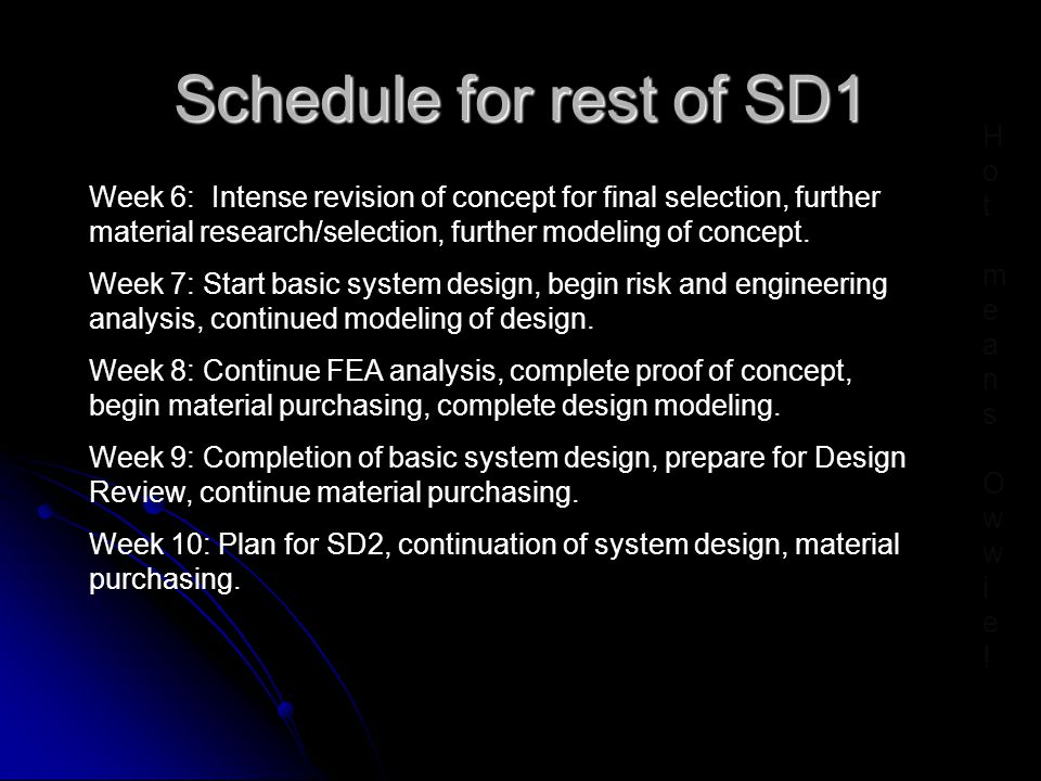 Schedule for rest of SD1 Week 6: Intense revision of concept for final selection, further material research/selection, further modeling of concept.