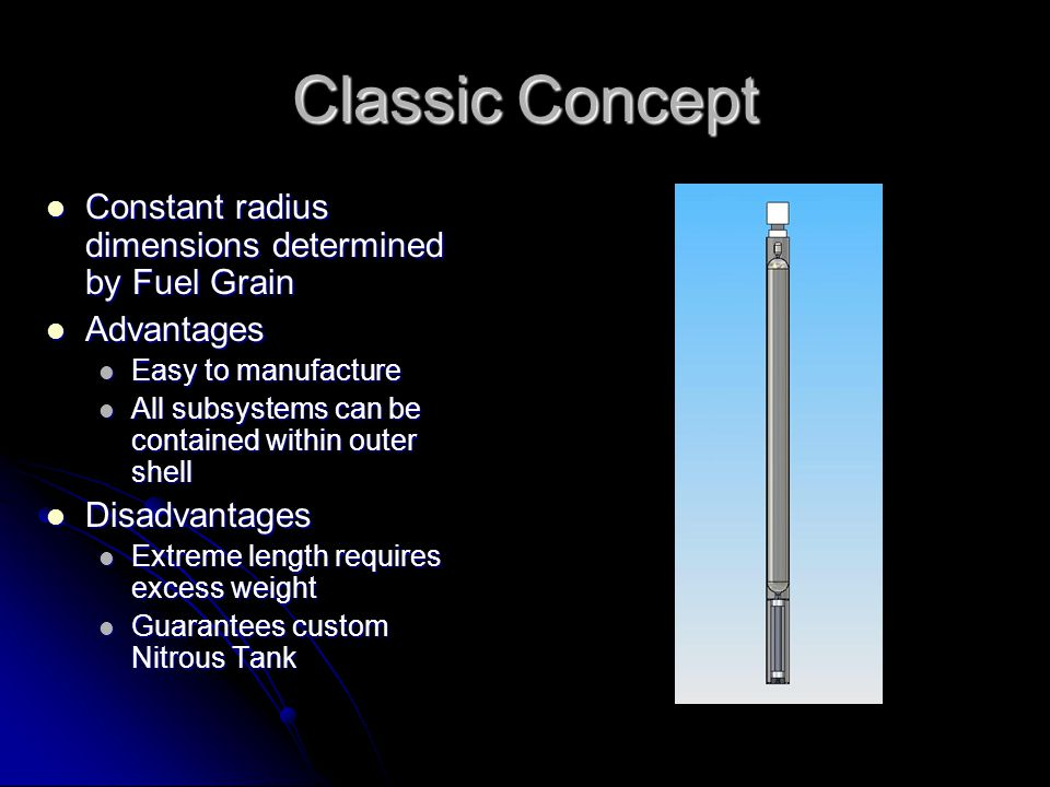 Classic Concept Constant radius dimensions determined by Fuel Grain Constant radius dimensions determined by Fuel Grain Advantages Advantages Easy to manufacture Easy to manufacture All subsystems can be contained within outer shell All subsystems can be contained within outer shell Disadvantages Disadvantages Extreme length requires excess weight Extreme length requires excess weight Guarantees custom Nitrous Tank Guarantees custom Nitrous Tank