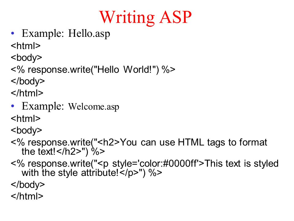 Writing ASP Example: Hello.asp Example: Welcome.asp You can use HTML tags to format the text.