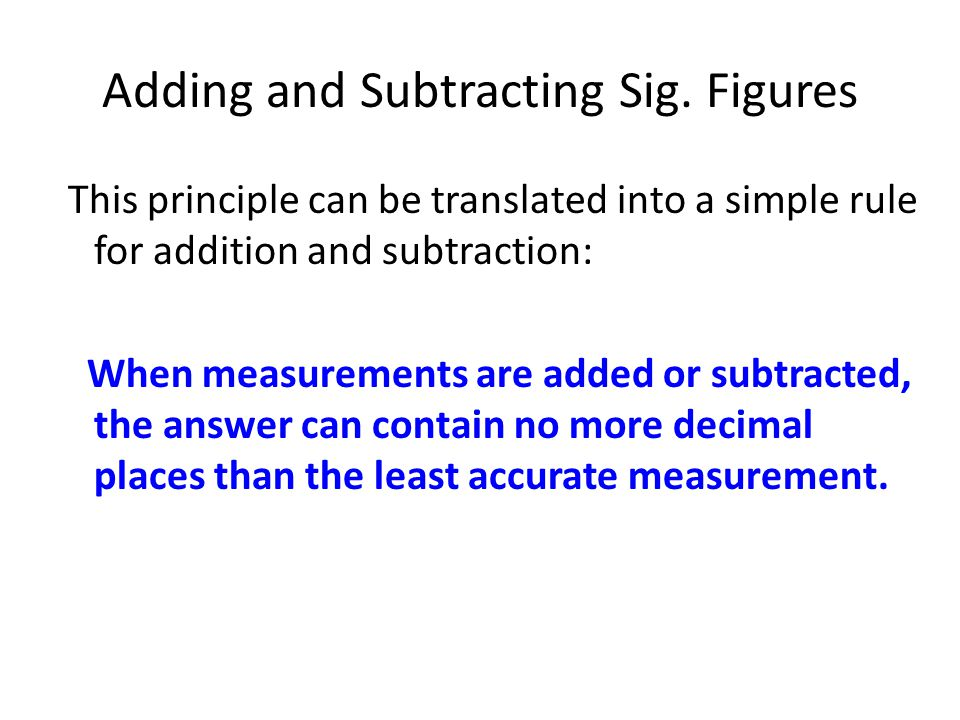 Adding and Subtracting Sig.