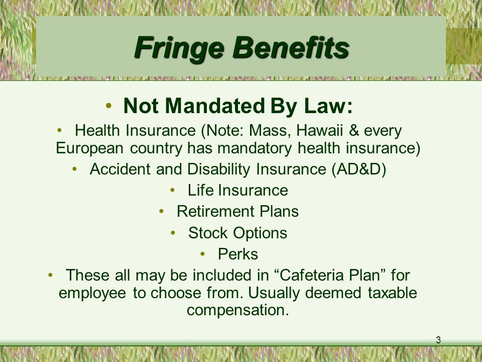 3 Fringe Benefits Not Mandated By Law: Health Insurance (Note: Mass, Hawaii & every European country has mandatory health insurance) Accident and Disability Insurance (AD&D) Life Insurance Retirement Plans Stock Options Perks These all may be included in Cafeteria Plan for employee to choose from.