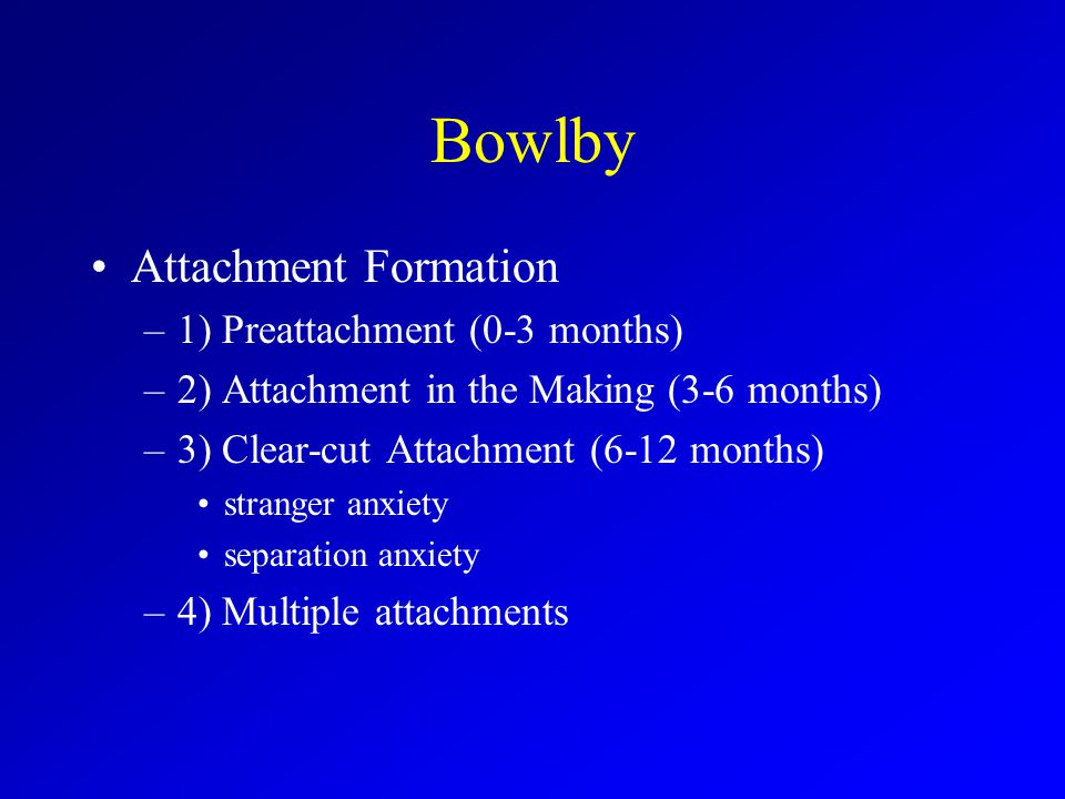 Bowlby Attachment Formation –1) Preattachment (0-3 months) –2) Attachment in the Making (3-6 months) –3) Clear-cut Attachment (6-12 months) stranger anxiety separation anxiety –4) Multiple attachments