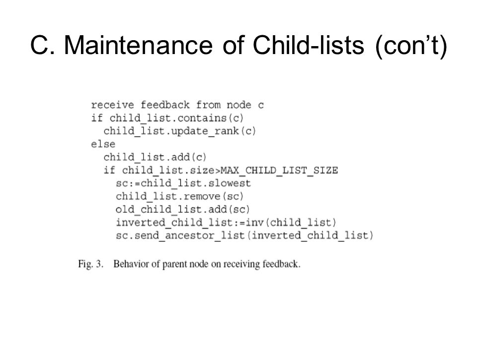 C. Maintenance of Child-lists (con't)