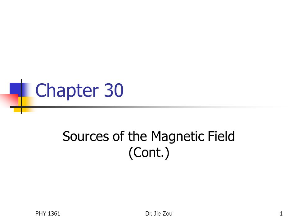 PHY 1361Dr. Jie Zou1 Chapter 30 Sources of the Magnetic Field (Cont.)