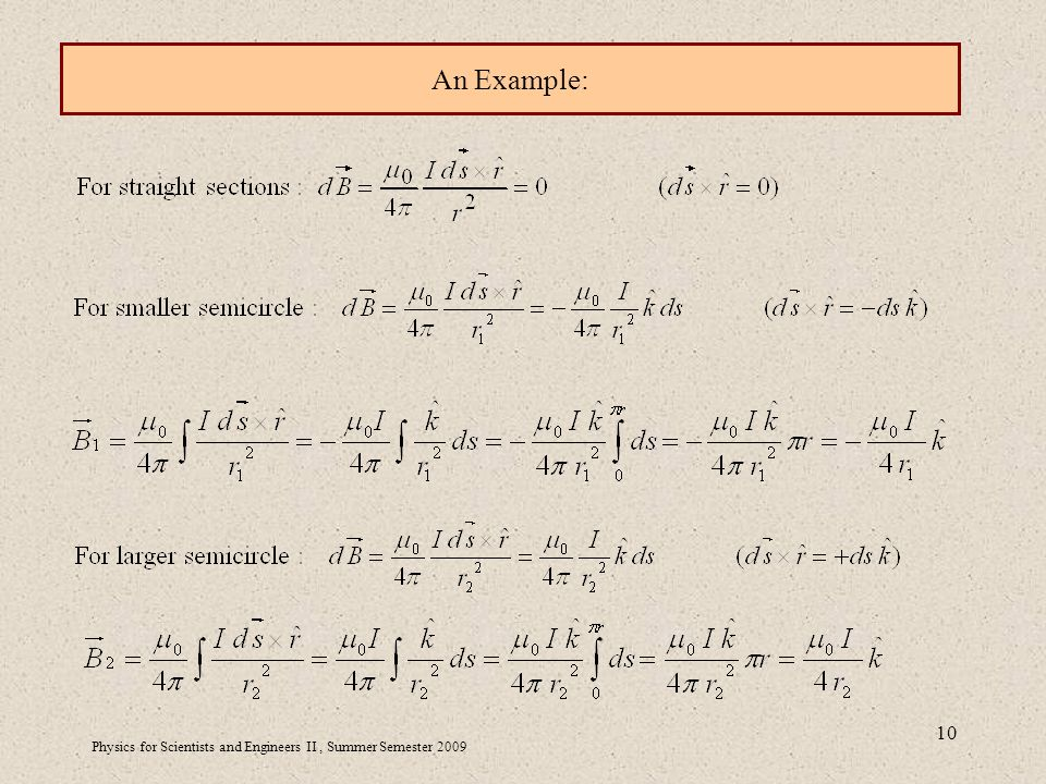 Physics for Scientists and Engineers II, Summer Semester An Example: