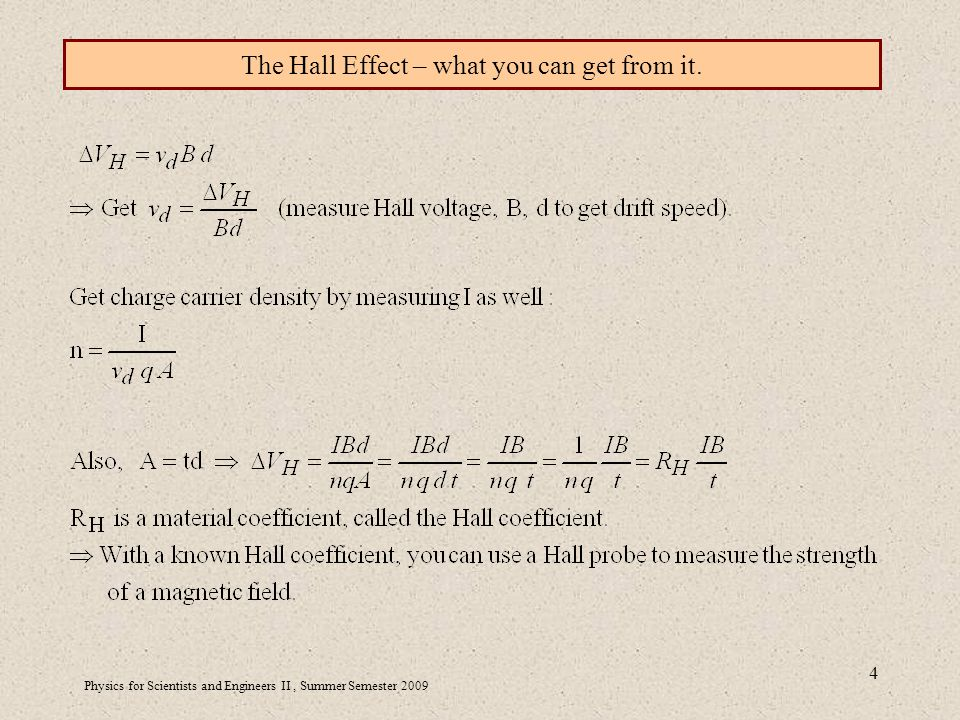 Physics for Scientists and Engineers II, Summer Semester The Hall Effect – what you can get from it.