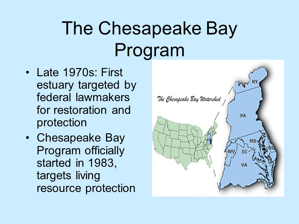 The Chesapeake Bay Program Late 1970s: First estuary targeted by federal lawmakers for restoration and protection Chesapeake Bay Program officially started in 1983, targets living resource protection