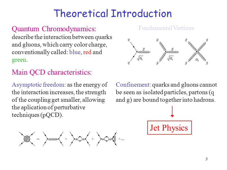 3 Theoretical Introduction Quantum Chromodynamics: describe the interaction between quarks and gluons, which carry color charge, conventionally called: blue, red and green.