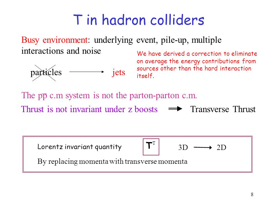 8 T in hadron colliders Busy environment: underlying event, pile-up, multiple interactions and noise particles jets We have derived a correction to eliminate on average the energy contributions from sources other than the hard interaction itself.