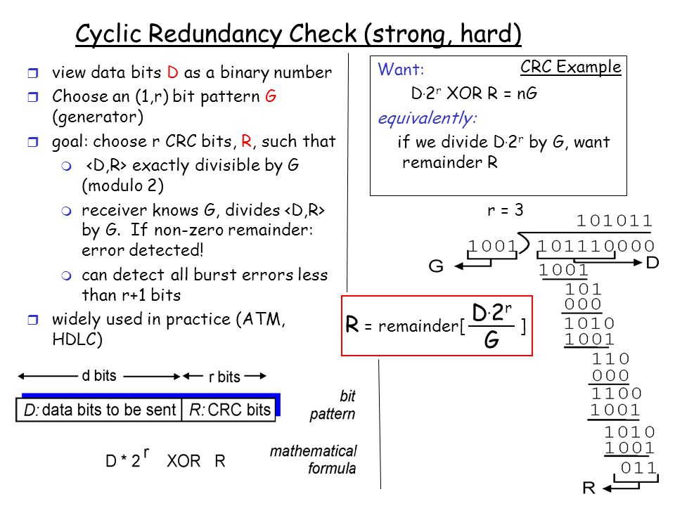 5-6 Cyclic Redundancy Check (strong, hard) r view data bits D as a binary number r Choose an (1,r) bit pattern G (generator) r goal: choose r CRC bits, R, such that m exactly divisible by G (modulo 2) m receiver knows G, divides by G.