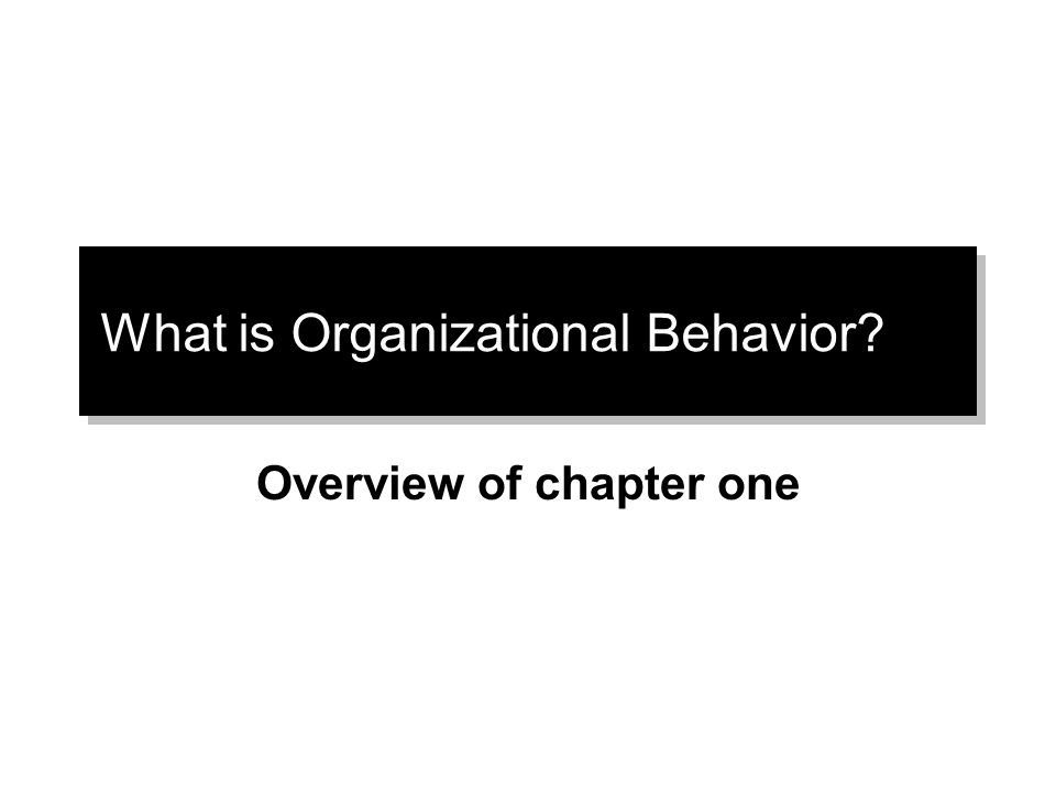 What is Organizational Behavior Overview of chapter one