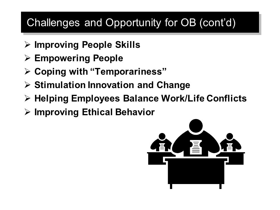 Challenges and Opportunity for OB (cont'd)  Improving People Skills  Empowering People  Coping with Temporariness  Stimulation Innovation and Change  Helping Employees Balance Work/Life Conflicts  Improving Ethical Behavior