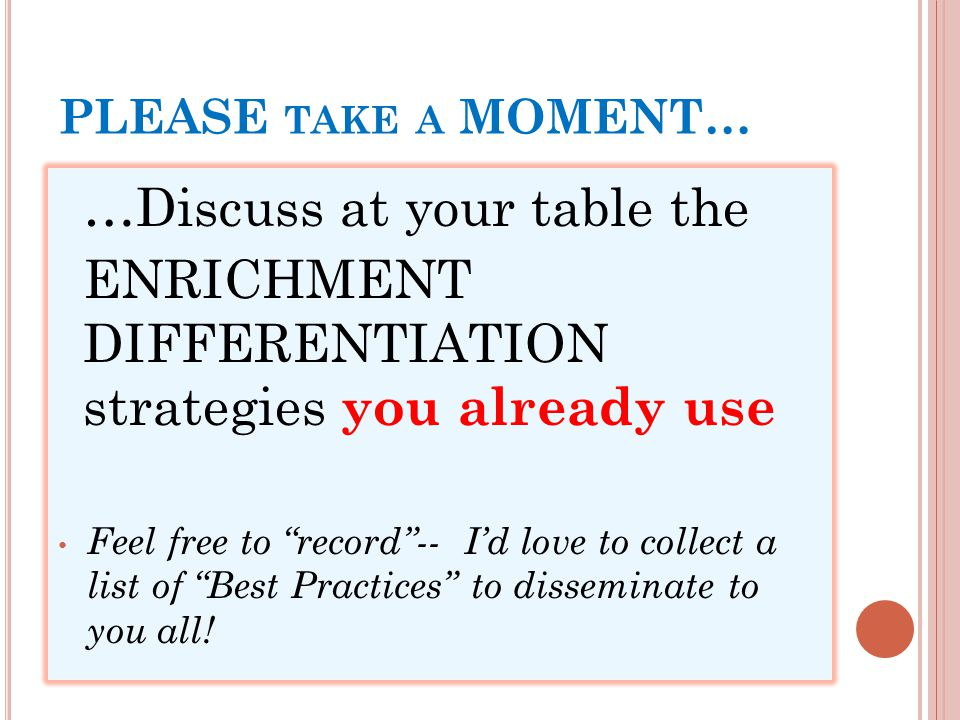 Differentiated Instruction Strategies Enrichment For Advanced
