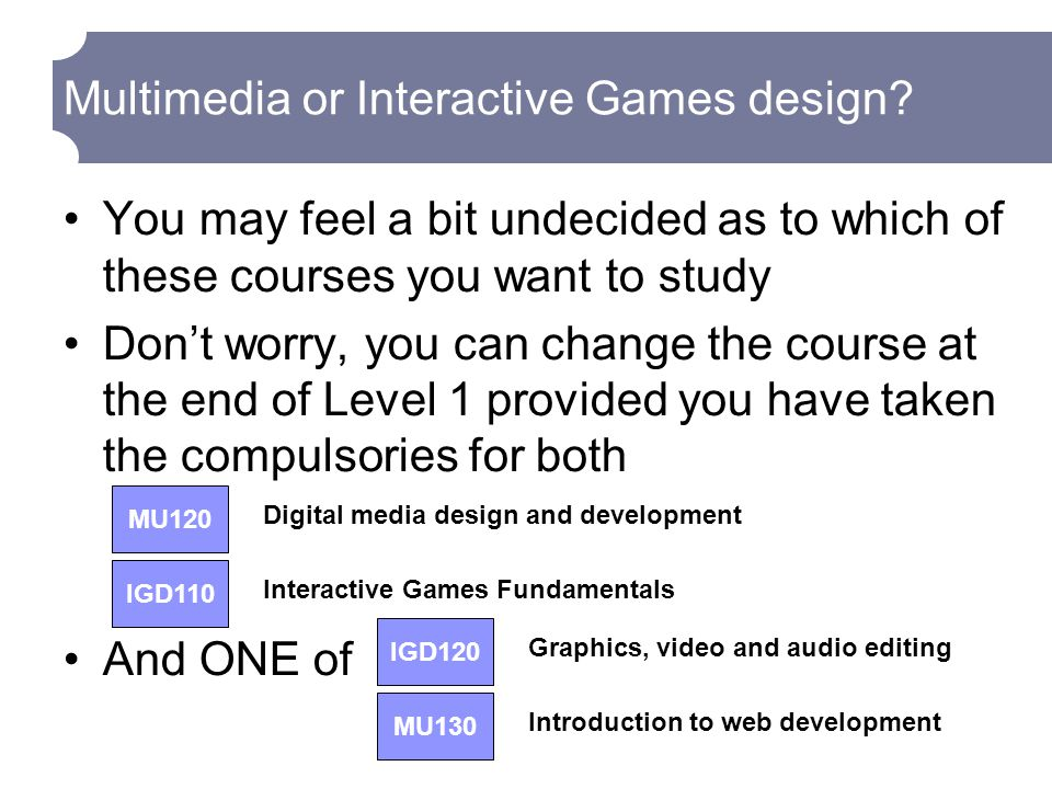 Multimedia or Interactive Games design.