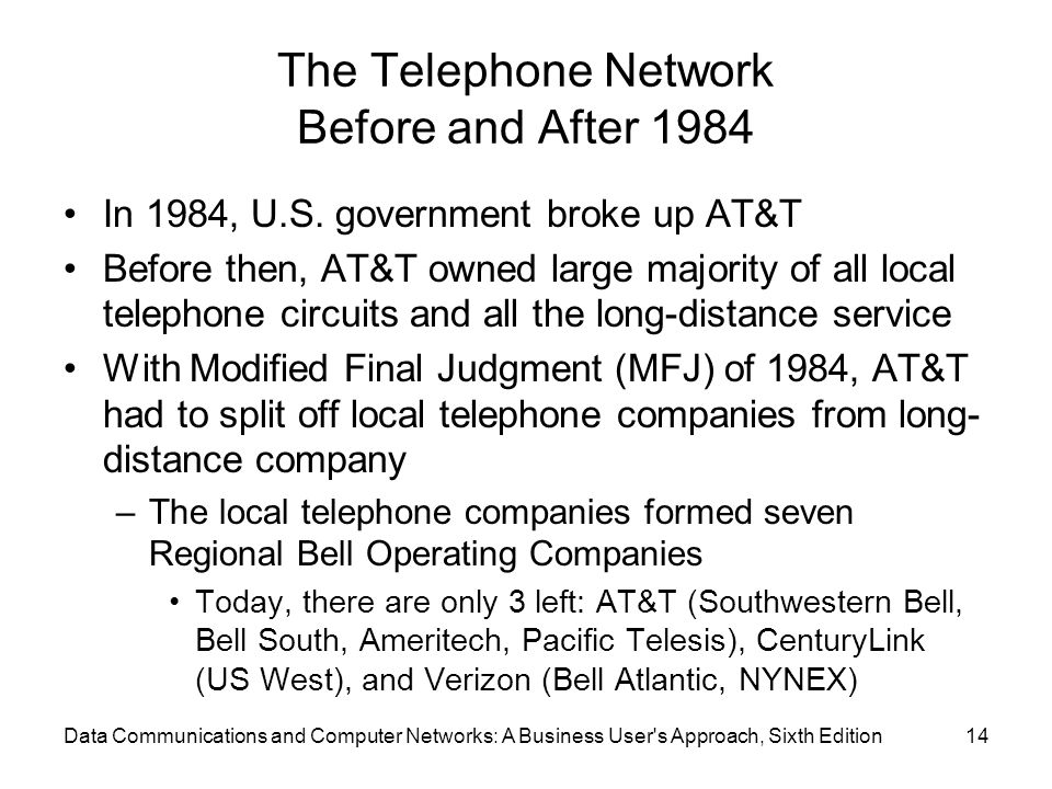 Data Communications and Computer Networks: A Business User s Approach, Sixth Edition14 The Telephone Network Before and After 1984 In 1984, U.S.